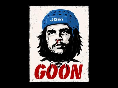 GOON stencil poster puck hockey