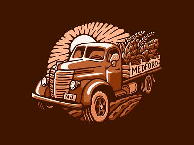 Farm Truck Brewing harvest nj hops beer logo truck farm