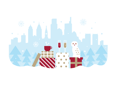 Holiday Party Owl snow philly party holiday owl