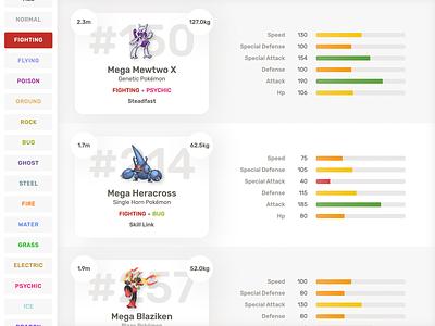 HealthDex - A Pokémon Pokédex web application design ui web pokemon pokémon react html css