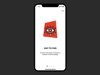 Tattoo app - onboarding design ux  ui principle tattoo art gif red onboarding ui product design old school ink designer tattoo micro interaction vector animation illustration ux mobile ui app design