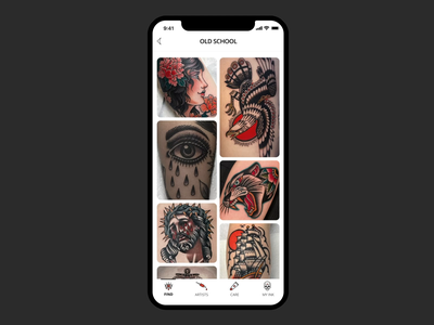 Choosing a tattoo - swiping cards images gallery save old school cards swiping swipe tattoo design designs uiux tattoo animation illustration ux mobile ui app design