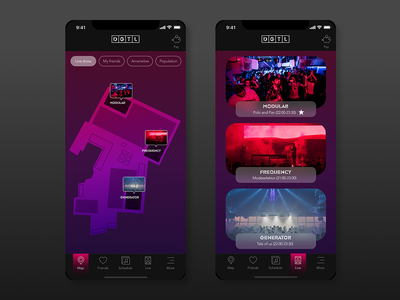 It'sAlive music festival app mobile music live music gradient map ux festival ui design app