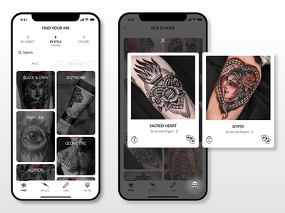 New skin app swipe ios iphone oldschool images gallery tabs style tatoo mobile ux ui design app