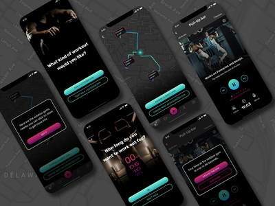 EasyFit workout run sport gym outdoor dark ui map gradient mobile ui design app