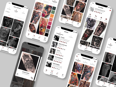 new skin app skull find search ios app ios tattoo design tattoo art ink gallery tattoo ux mobile ui design app