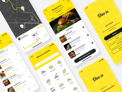 Dine in redesign. My food app mobile design track delivery food illustration food app food illustration map ux mobile ui design app