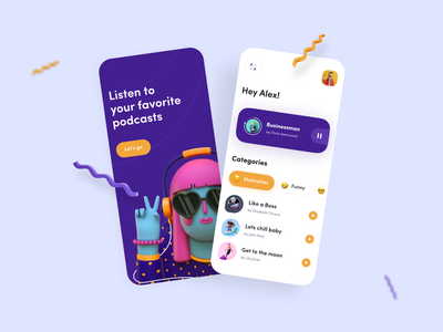 Podcasty App 3d animation music illustrator figma audiobook podcast app podcast illustraion 3d art 3d designer android ux app ui app minimal application ui flat design
