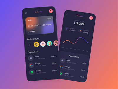 Wallet App dark illustraion bank glassmorphism glass card figma wallet fintech finance 3d ios android app ui app minimal application ui flat design