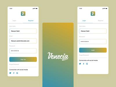 Venecia app   Registration Process mockup mobile app mobile ui illustration typography ux process design app ux ui minimal logo flat