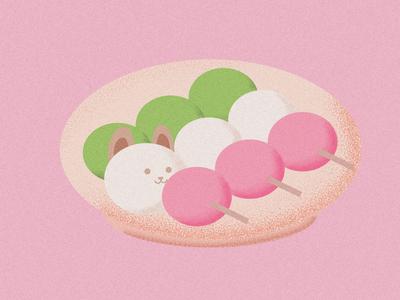 dog hiding in japanese dessert hanami dango cute fun food dog dessert vector design illustration flat