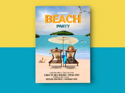 Beach Party Mockup pool party flyer sand starfish island sea couple party flyer beach summer party flyer beach party flyer
