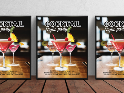Cocktail Night Party Flyer night out party girls flyers party pineapple juice lemon drink cocktail party flyer night party flyer cocktail party flyer