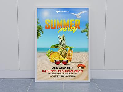 Summer Party Flyer Mockup sky sunglass sea sand beach beach party flyer fruit pineapple party flyer summer party flyer summer