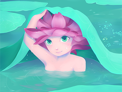 Between the water lilies illustration