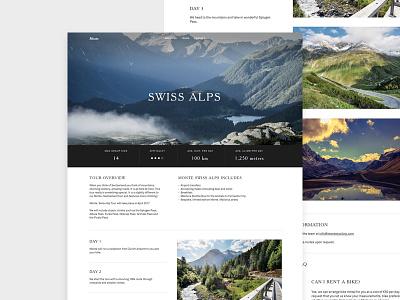 Monte Cycling - Swiss Alps Tour web design responsive bike tours cycling ui ux