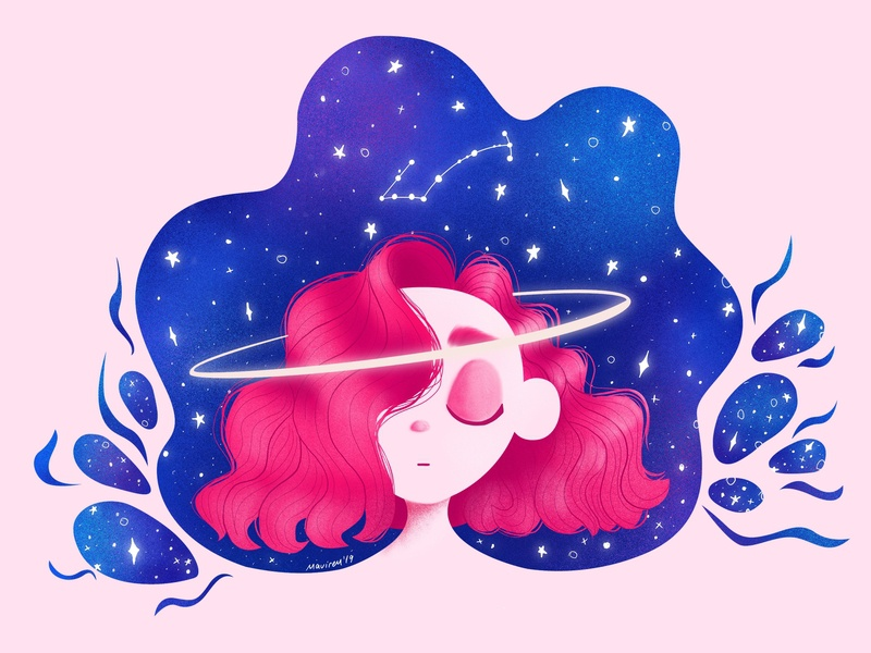 Space sticker mule sticker photoshop girl space procreate ipadproart ipadpro design character illustration