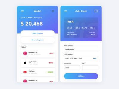 Wallet bank card shadows gradient ux ui e-wallet