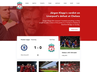 Liverpool FC landing page redesign chelsea premierleague soccer football liverpool