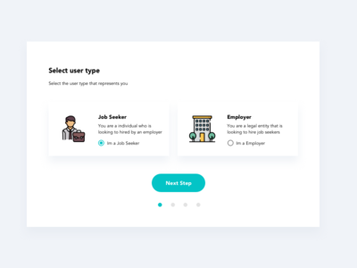 Select User Type jobseeker employer user ux ui