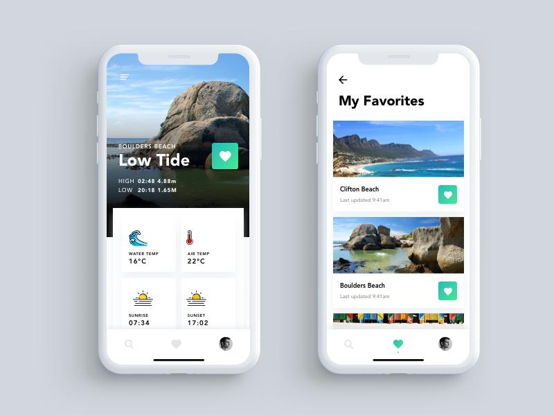 Tide App iphonex town cape app tide ux ui