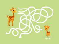 Educational game. Labyrinth. Giraffes
