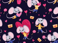 Love mices. Vector pattern