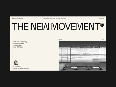 The New Movement typography abstract black app website design logo interior art minimal architect