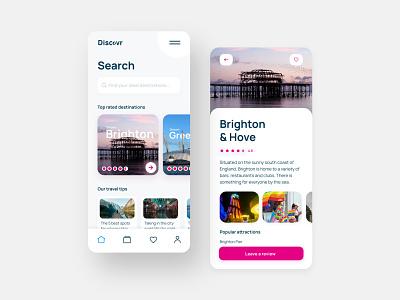 Discovr Mobile App UI accessibility dark mode review travel app mobile app mobile ui app design app uxui interfacedesign web ux design ux ui design ui