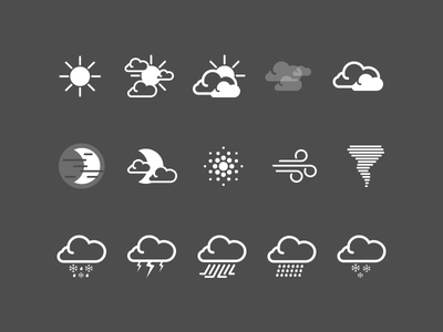 HTC Sense Weather Icons htc htc one one icons icon icon design design weather weather app weather clock clock states sunny cloudy rain freezing rain tornado wind dust night time night lightning fog