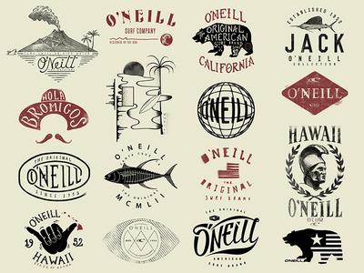 O'Neill T-Shirt Graphics lettering logo california hawaii surf surfing tee t-shirt oneill