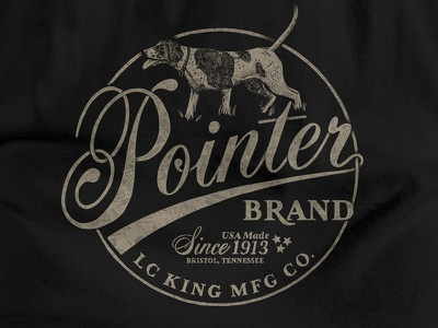 T-Shirt Design for Pointer Brand / LC King logo screenprint screen print graphic design typography workwear lettering tee t-shirt