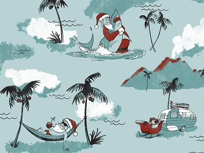 """Haole Days"" apparel print for O'Neill aloha wave palm tree apparel shark holiday tropical hawaii surf surfing santa christmas"