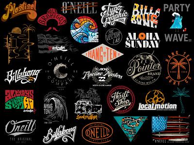Logos, lettering & surf t-shirt designs hawaii aloha surfing surf t-shirt tee lettering logo