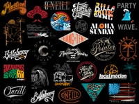 Logos, lettering & surf t-shirt designs