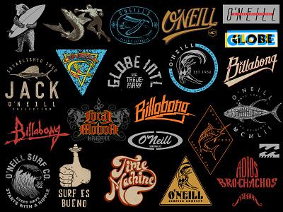 Surf logos, lettering & t-shirt designs hawaii aloha surfing surf t-shirt tee lettering logo