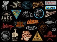 Surf logos, lettering & t-shirt designs