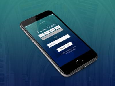 Giving app garamond simple app design donate blue ios gradient donation giving mobile app