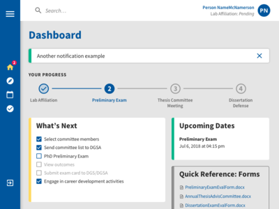 In Progress Dashboard app progress indicator design interface highered web design application dashboard ui