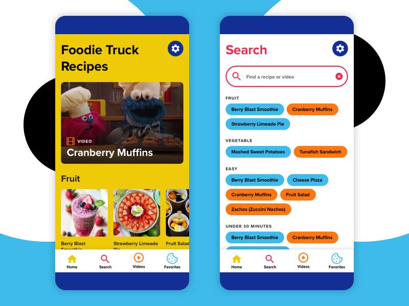 Monster Foodie Truck app mobile app blue application design simple flat ui interface design fun children cookie monster friendly interface food app colorful bold app design sesame street app uidesign