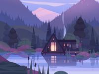 Cozy hut lake forest mountains travel nature landscape illustration