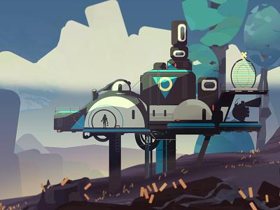 Space_base concept travel space sci-fi landscape future illustration