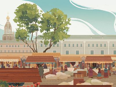 Bread Fair in St. Petersburg XIX c bread russia history fair illustration
