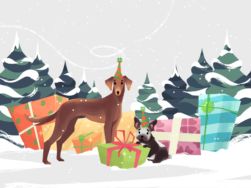 Gift time celebration gift december snowwhite greeting card christmas tree dogs xmas new year eve holyday presents christmas illustration