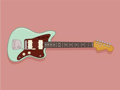 Fender Jazzmaster fender shadow color music sound illustration guitar
