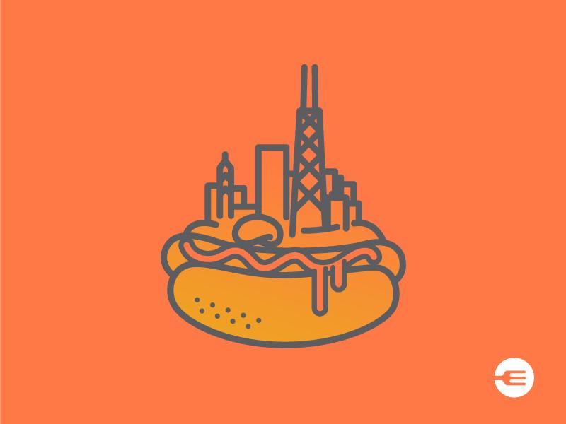 Chicago Dog hot dog logo illustration icon food eat ui app chicago