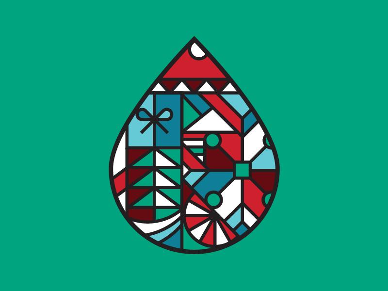 Santa Drop holiday gift christmas santa logo design illustration geometric drop coffee