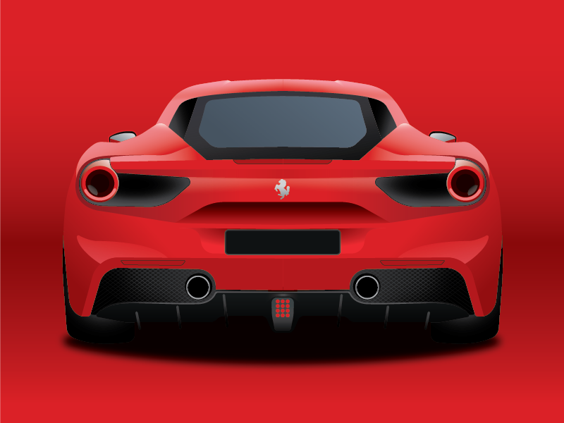 Ferrari 488GTB shading gradient fast red design illustration car ferrari