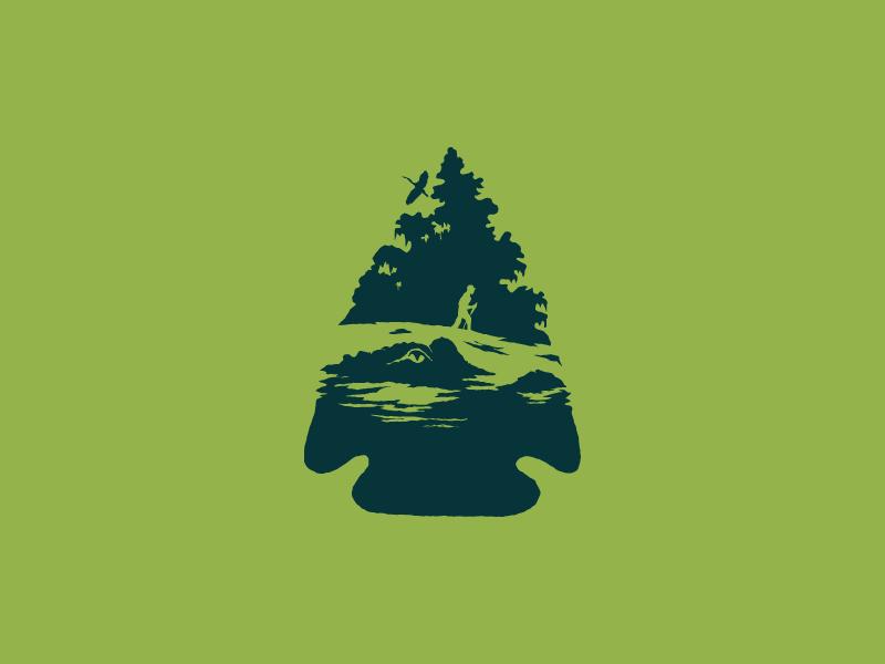 Hidden figures man trees bird alligator badge mark branding identity arrow head space negative logo