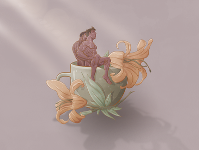 Relaxing Lovers warm art tea cup lily lilies gay art gay illustration